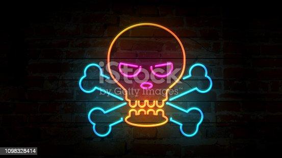 Skull and bones neon symbol on brick wall. Flicker warning sign on brick wall background. Retro style glowing 3D illustration.
