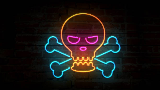 skull neon icon on brick wall 3d illustration - poisonous stock pictures, royalty-free photos & images