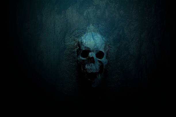 Skull on Blue dark background stock photo
