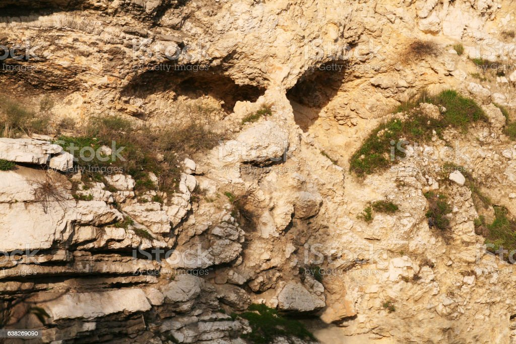 Skull Rock Formation in Jerusalem, Israel stock photo