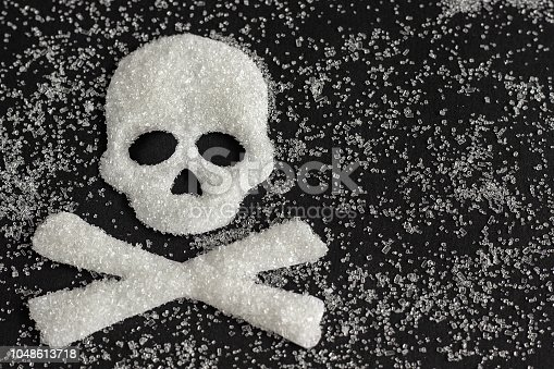 istock skull shape from sugar on black background, Concept 1048613718