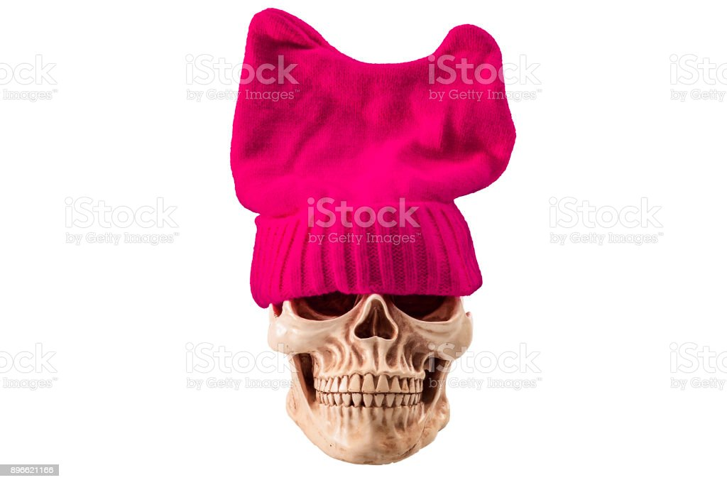 Skull wearing a pussyhat isolated on white stock photo