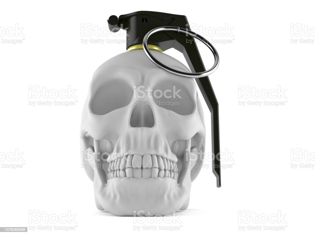 Skull With Hand Grenade Fuse Stock Photo & More Pictures of Anatomy