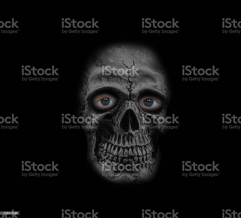 skull with human eye stock photo