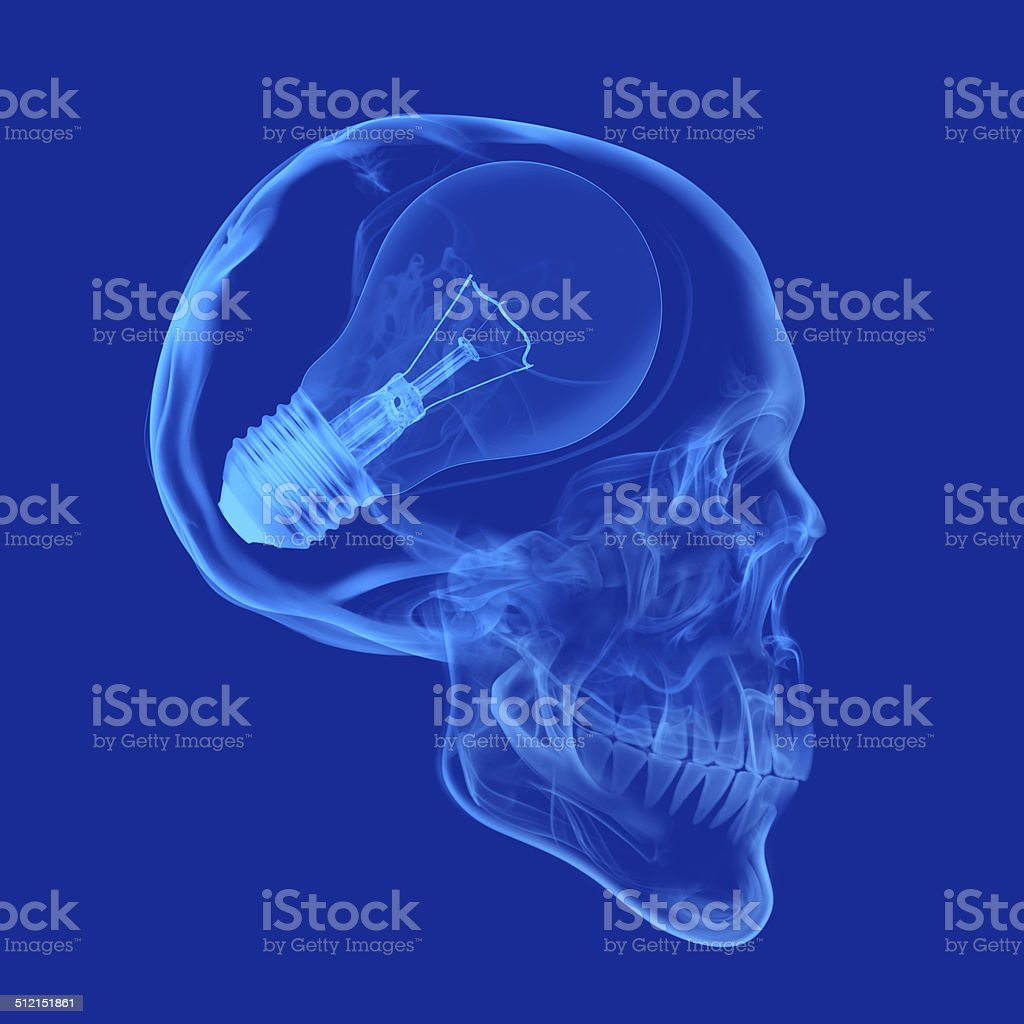 Skull with Light Bulb X-ray human skull with light bulb illustration on blue background. Blue Stock Photo