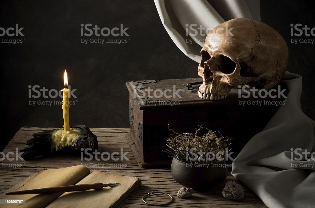 skull with lighted candle royalty-free stock photo