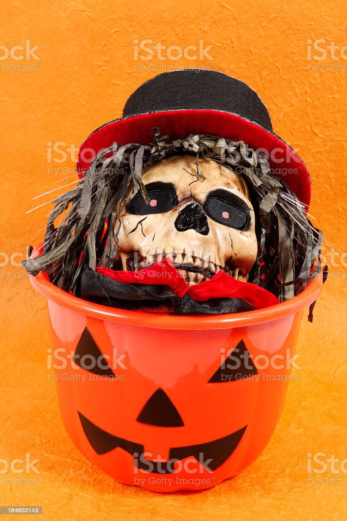 Skull with top hat in pumpkin pail stock photo