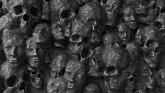 Skulls and faces melted together