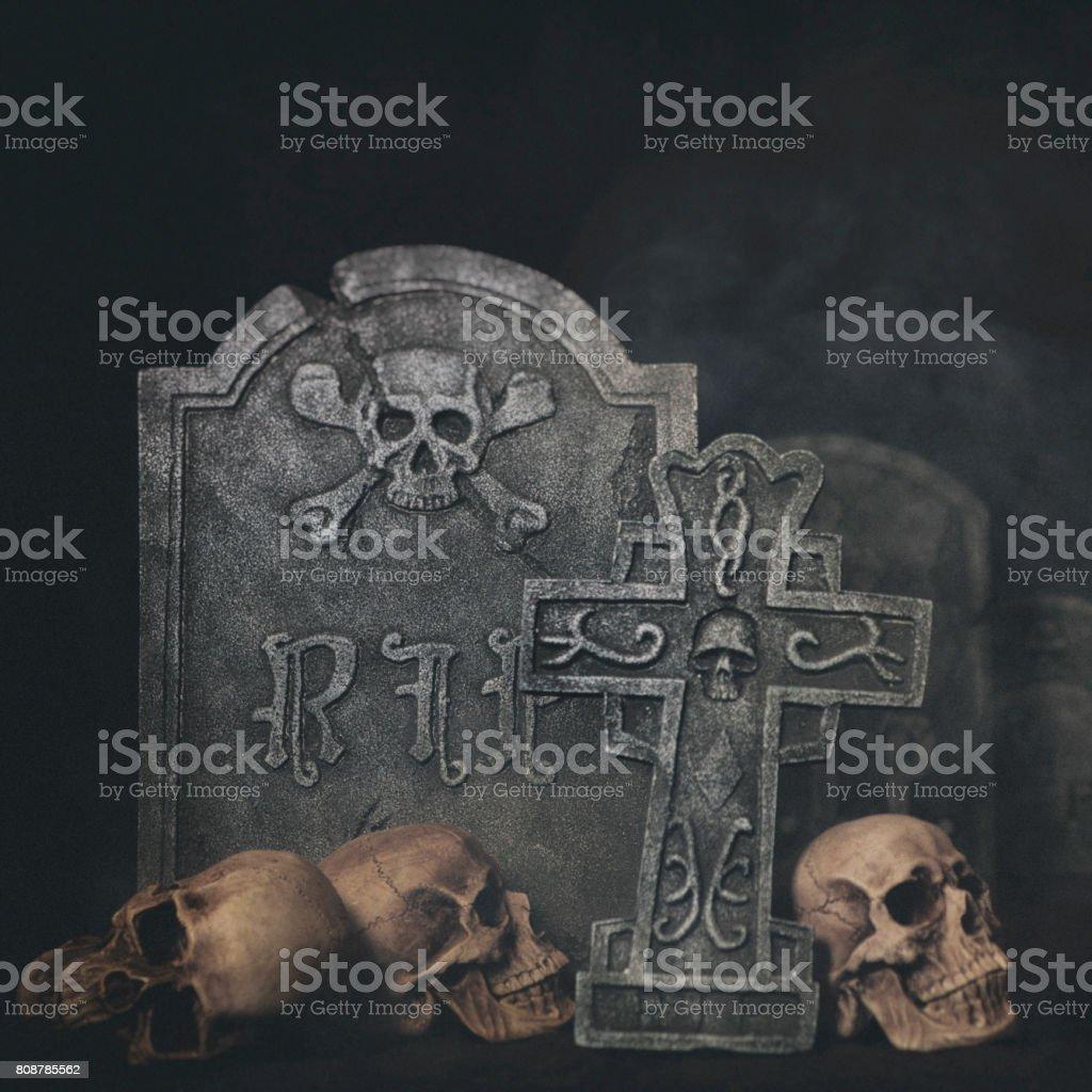 Skulls and Tombstones stock photo