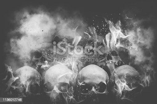 Lots of skulls on fire
