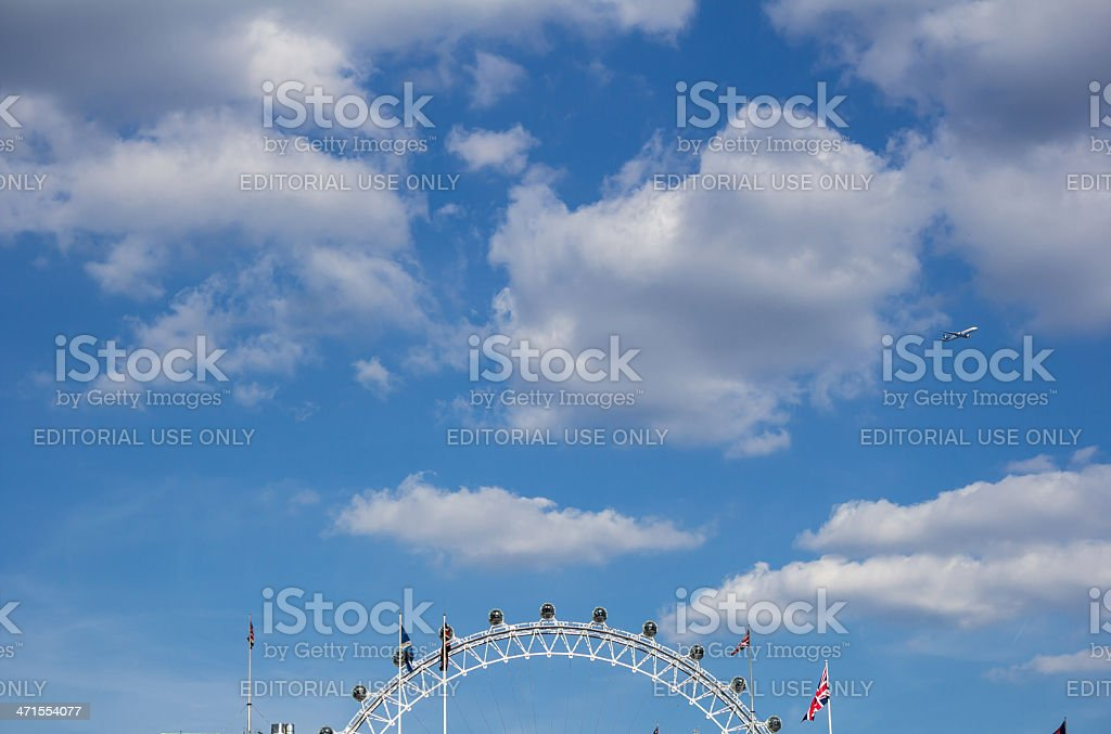 Sky, a plane and the London Eye stock photo