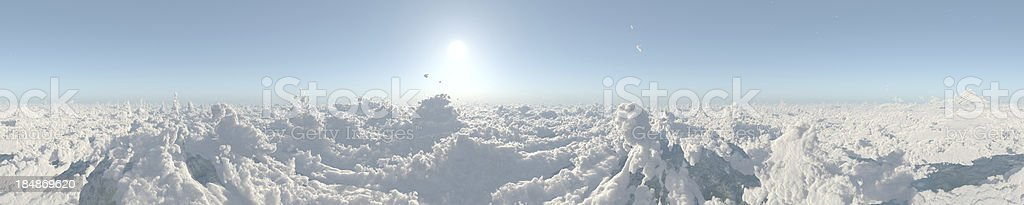 Sky above clouds 360 panorama stock photo