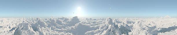 Sky above clouds 360 panorama stock photo