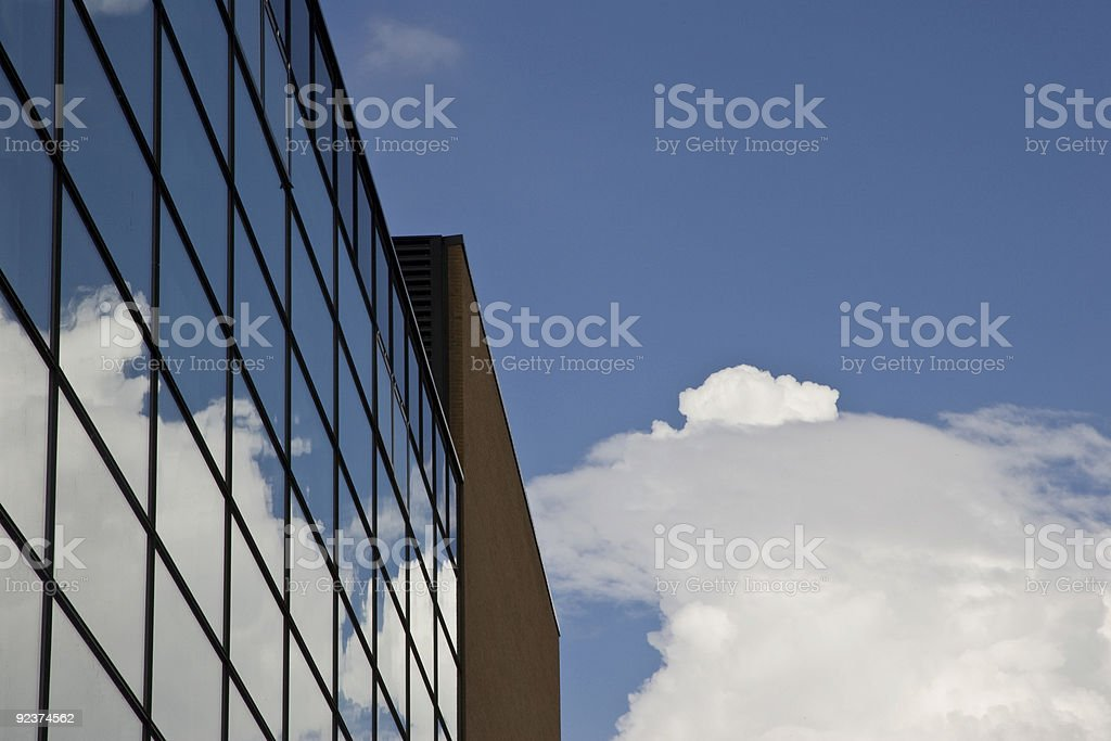 Sky and Cloud Reflected in Glass Building, Office, Work Life royalty-free stock photo