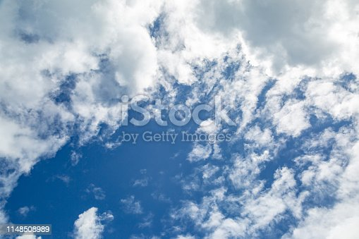 Looking up at blue sky and white clouds