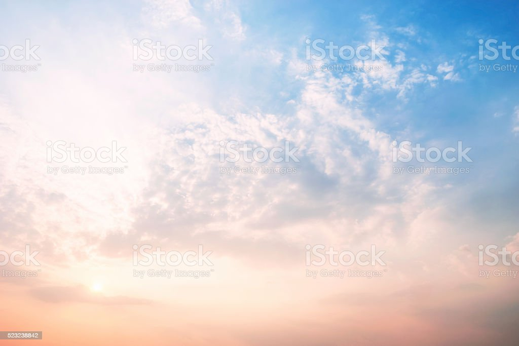 Sky and clouds with different colors. stock photo