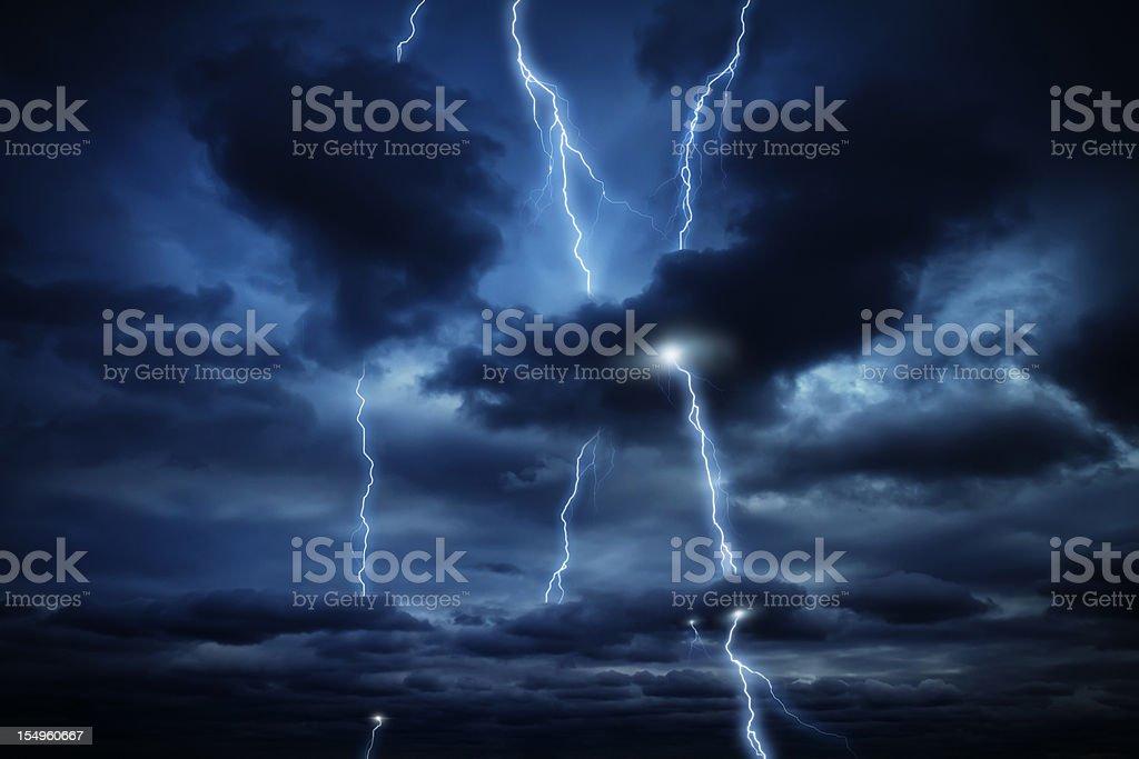 Sky and lightnings royalty-free stock photo