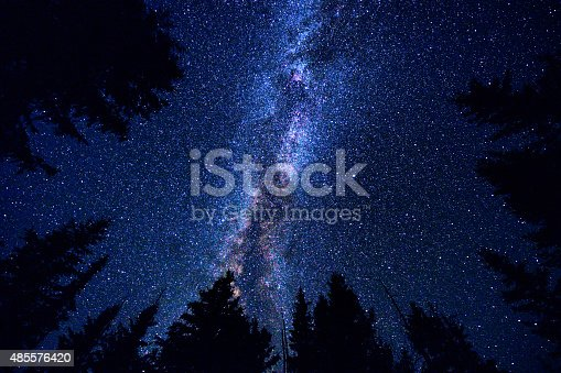 istock Sky and Mountain Forest at Night with Milky Way Galaxy 485576420