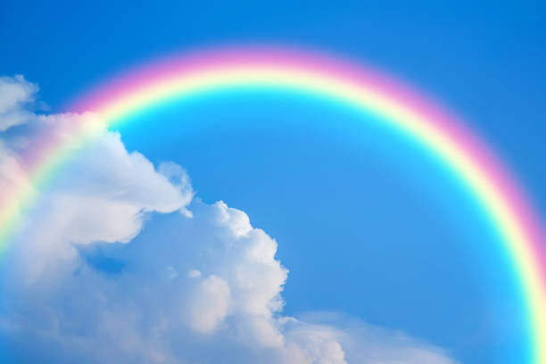 Sky and rainbow background stock photo