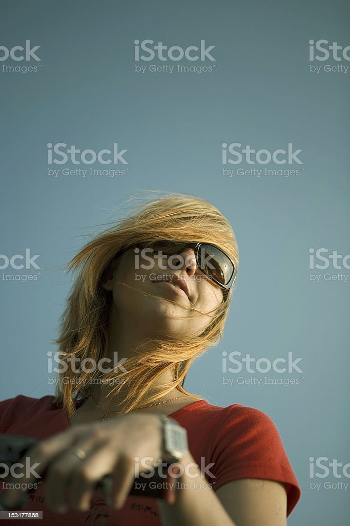 Sky and the beautiful girl royalty-free stock photo
