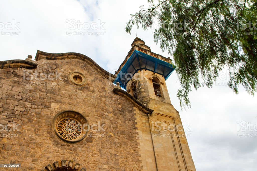 Sky and the top of the old building in Valdemossa, Mallorca side view. Spain stock photo