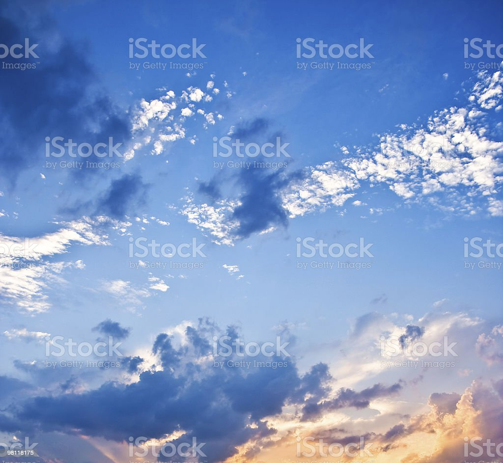 Sky Background At Sunset Clouds Vivid Blue royalty-free stock photo