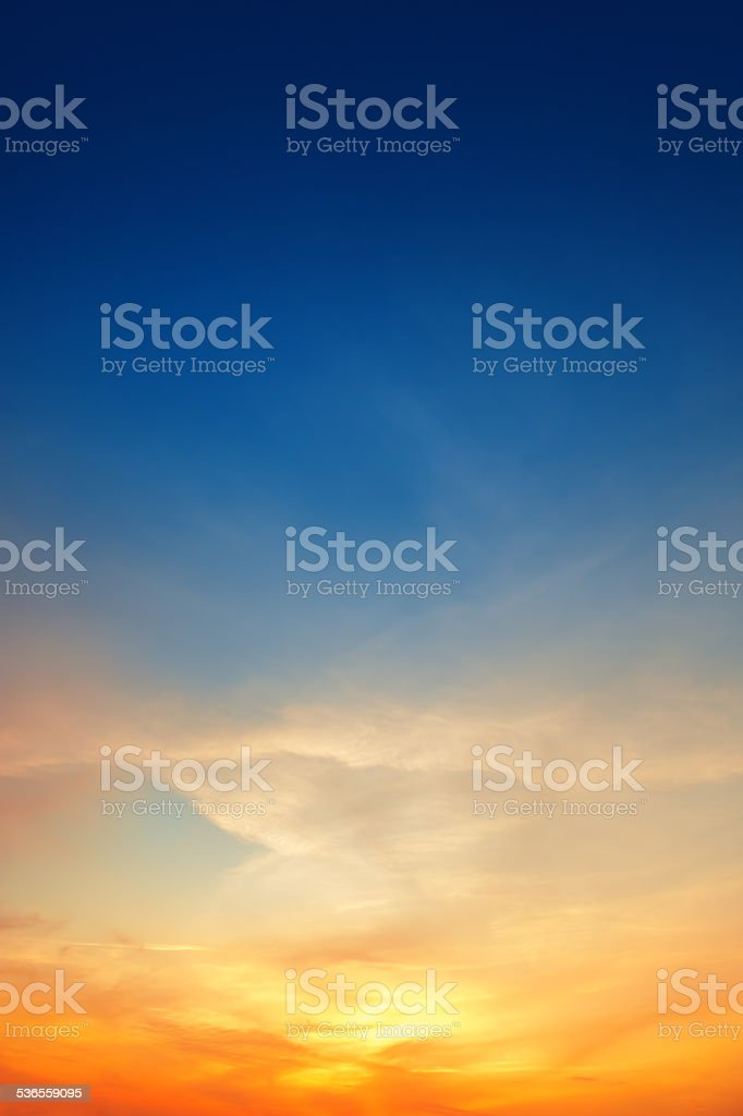Sky background on sunset stock photo