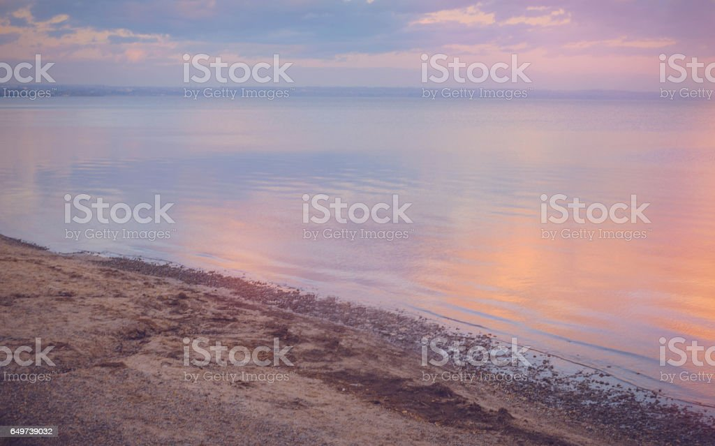Sky background on sunset, seafront. Nature composition. Panoramic sunset sky background. Taganrog Bay, Azov sea. stock photo