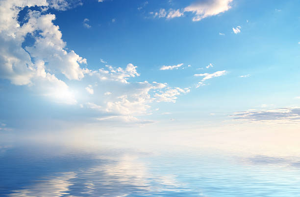 Sky background Sky background on sunset. Nature composition. horizon over water stock pictures, royalty-free photos & images