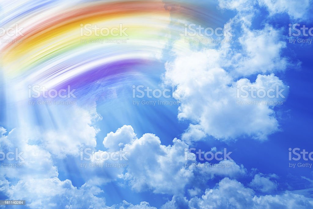 Sky Background With Painted Rainbow stock photo