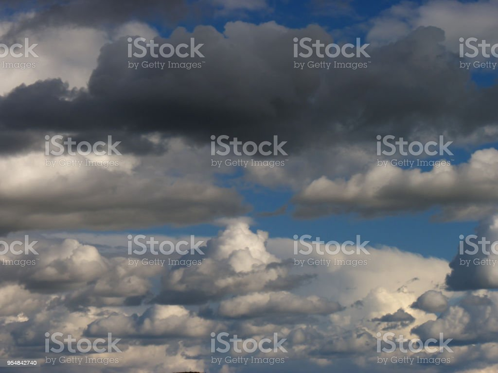 Sky background with street of white clouds and gray cloud stock photo