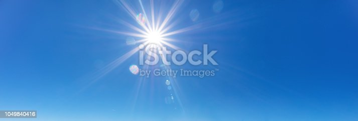 Direct shot of sun with lens stars and flares