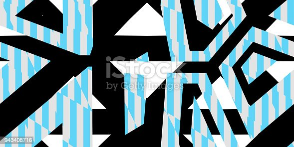 istock Sky Blue Seamless Prickly Scraps Background. Sharp Angular Shapes on Monochrome Texture. Prickly Contrast Ragged Flaps Backdrop. 943408716