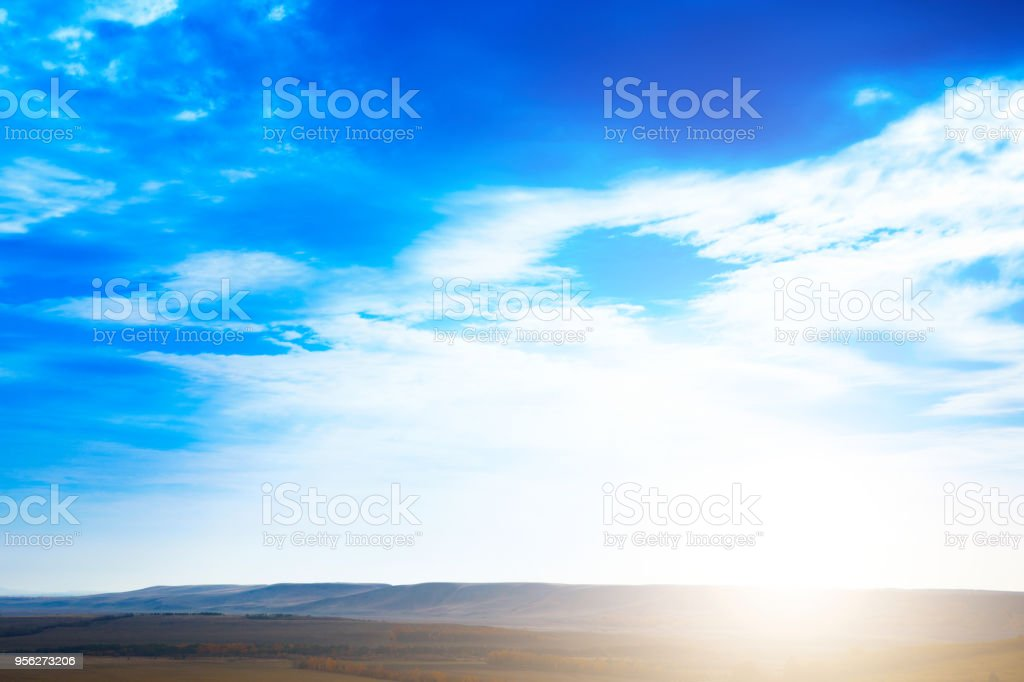Sky Blue Sky Background With Purple And Green Clouds Sky With Clouds On Sunset Stock Photo Download Image Now Istock