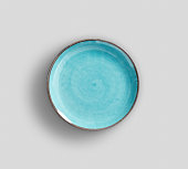 Sky Blue Swirl Melamine Plate with light gray background