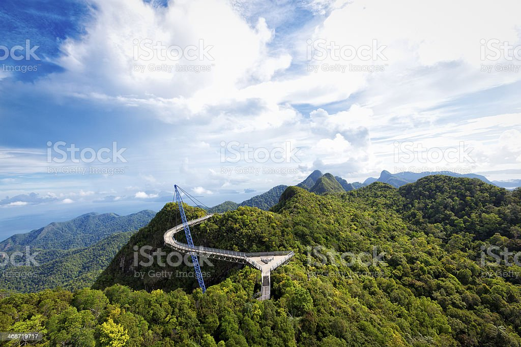 sky bridge langkawi scenic view stock photo