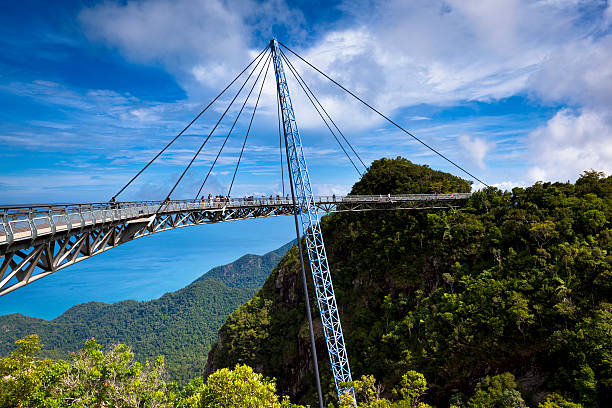 sky bridge scenic view amazing cable bridge over the tropical rainforest island landscape in langkawi, malaysia. footbridge stock pictures, royalty-free photos & images