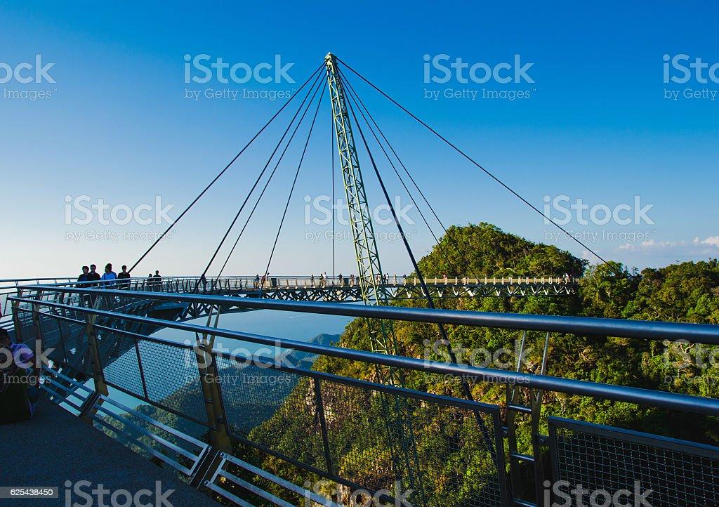 Sky bridge symbol Langkawi island. Travel concept. Sunset time. Malaysia stock photo
