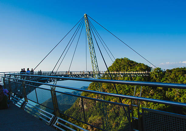 Sky bridge symbol Langkawi island. Travel concept. Sunset time. Malaysia Photo of the Sky bridge symbol Langkawi island. Adventure holiday. Modern technology. Tourist attraction. Travel concept. Sunset time elevated walkway stock pictures, royalty-free photos & images