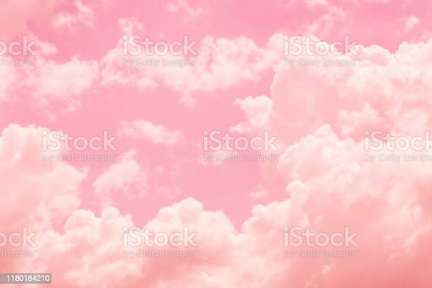 Photo of Sky cloud pink love sweet love color tone for wedding card background.