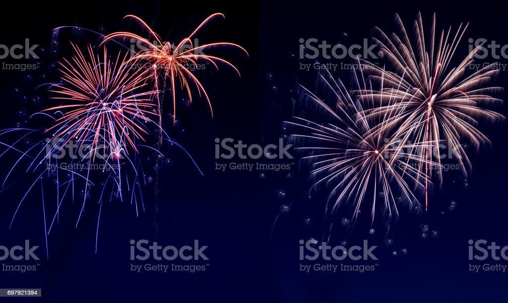 Sky covered with fireworks stock photo