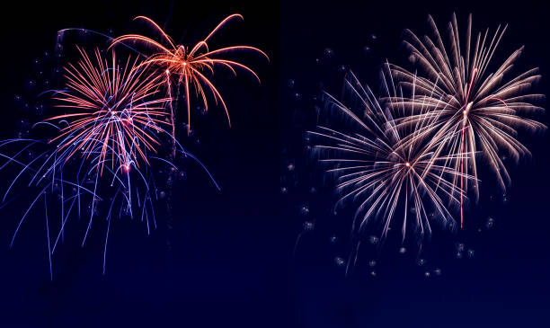 sky covered with fireworks - firework display stock pictures, royalty-free photos & images