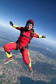 Skydiving white hair