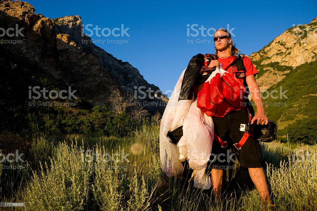 Sky Diver in Canyon After Jump royalty-free stock photo