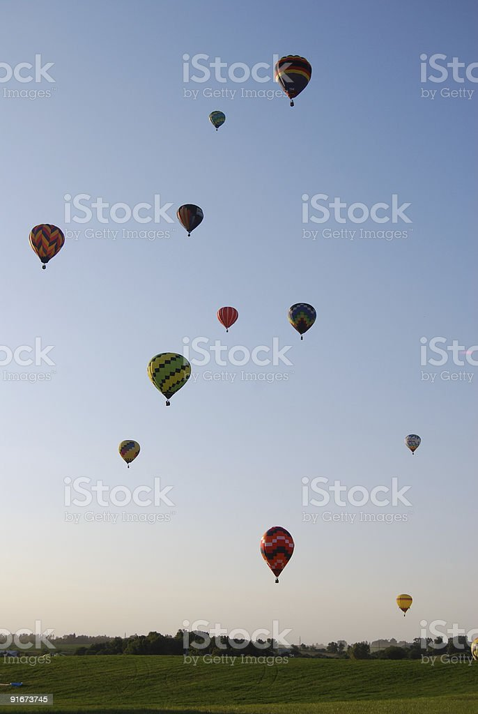 Sky Filled with Hot Air Balloons royalty-free stock photo