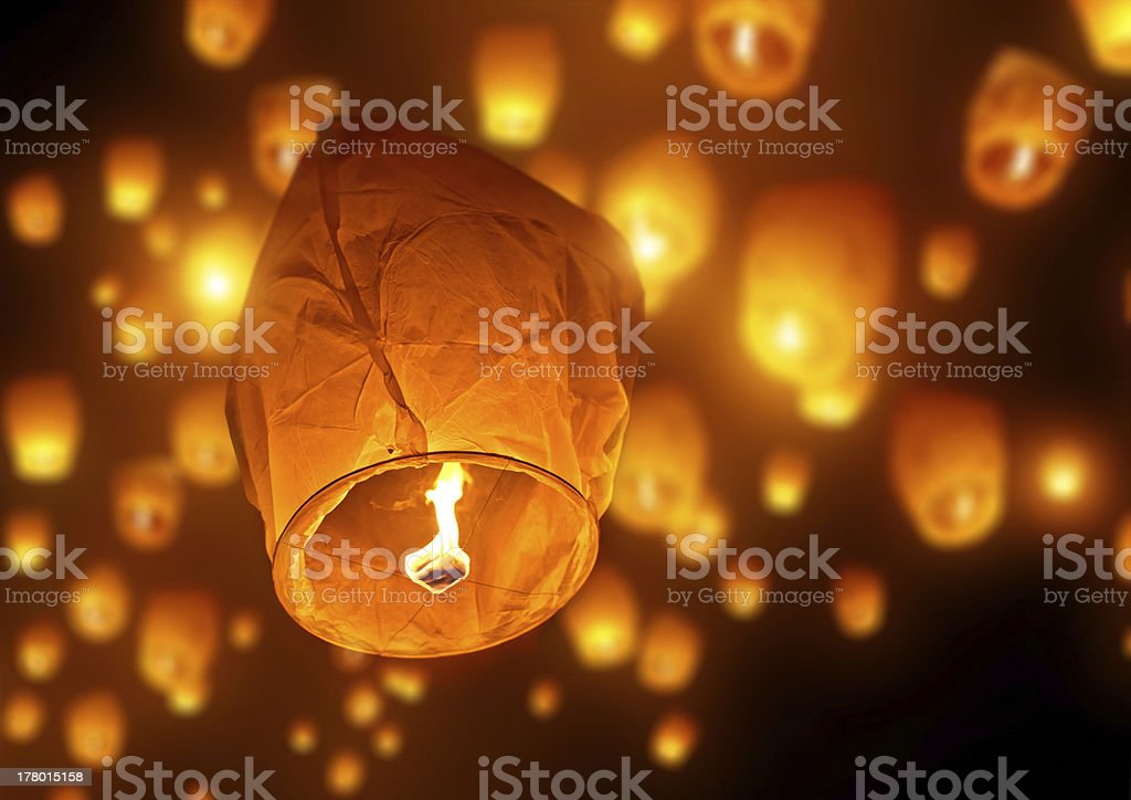 Sky full of traditional candle lanterns celebrations stock photo