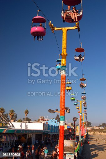 Santa Cruz, CA, USA July 30, 2007 The Sky Glider, a ski lift style ride above the Boardwalk in Santa Cruz, California, gives riders a panoramic view of the town and ocean.