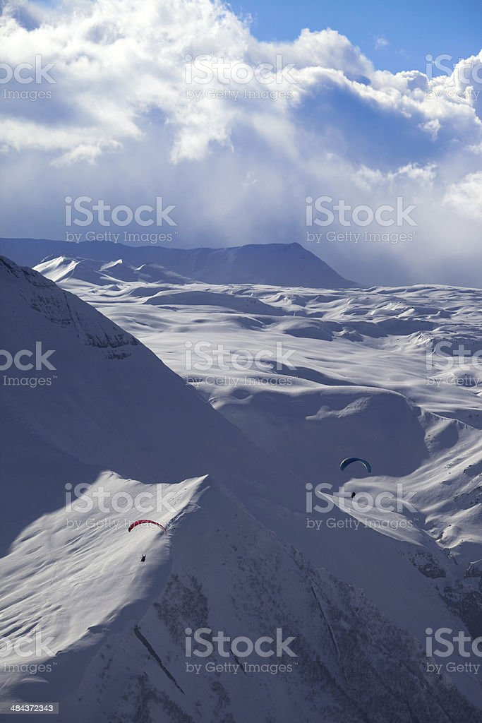 Sky gliding in snowy mountains royalty-free stock photo