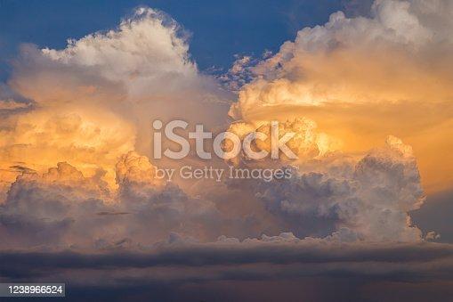 istock Sky, Gold Colored, Cloud - Sky, Sunset, Cloudscape 1238966524