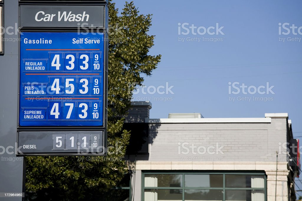 Sky high gas prices hit $5 a gallon stock photo